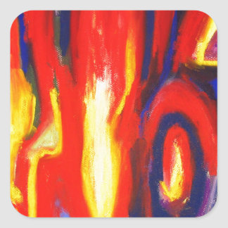 Divided Flames (abstract expressionism) Square Sticker