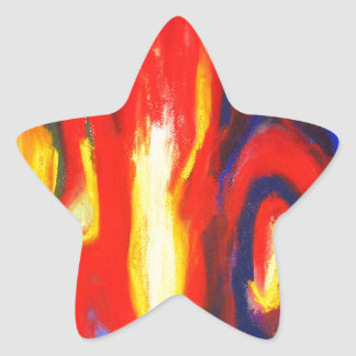 Divided Flames abstract expressionism Star Sticker