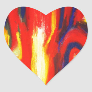 Divided Flames abstract expressionism Heart Stickers