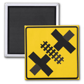 Divided Highway Intersection with Rail Crossing Fridge Magnet