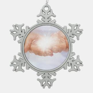Divine healing God,peace, love,reiki, energy aura Snowflake Pewter Christmas Ornament