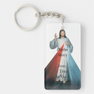 Divine Mercy Jeus, I Trust In You ! Double-Sided Rectangular Acrylic Key Ring