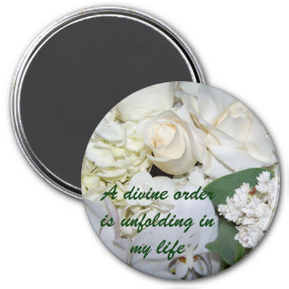 Divine Order(White Roses)_ Magnet_by Elenne Boothe 7.5 Cm Round Magnet