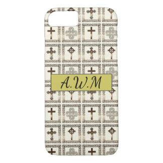 Divine Protection Vintage Gold Cross Pattern iPhone 8/7 Case