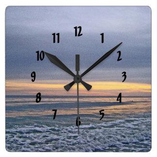 Divine Sunset Along Oak Island Beach Square Wall Clock