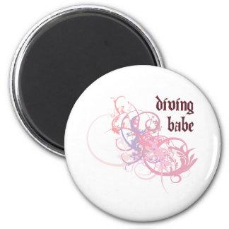 Diving Babe 6 Cm Round Magnet