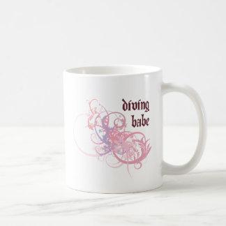 Diving Babe Basic White Mug