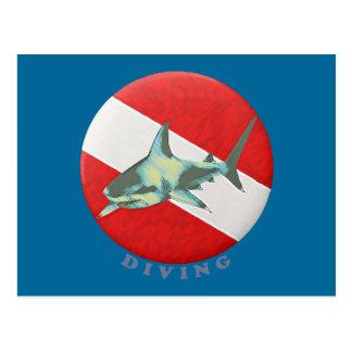 diving flag shark postcards