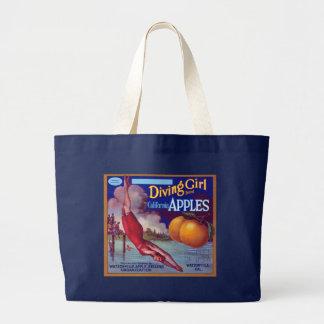 Diving Girl Apples Tote Bag