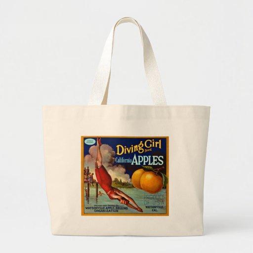 Diving Girl Apples - Vintage Fruit Crate Label Tote Bag