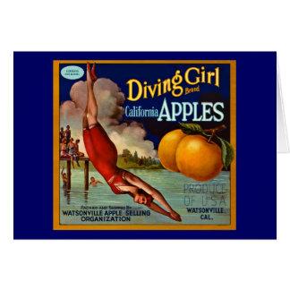 Diving Girl Apples - Vintage Fruit Crate Label Greeting Card