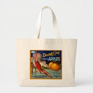 Diving Girl Apples - Vintage Fruit Crate Label Jumbo Tote Bag