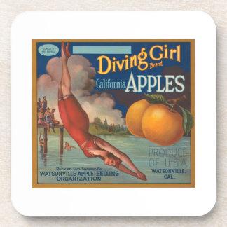Diving Girl Brand California Apples Fruit Crate La Beverage Coasters