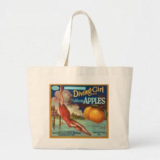 Diving Girl California Apple Fruit Crate Label Jumbo Tote Bag