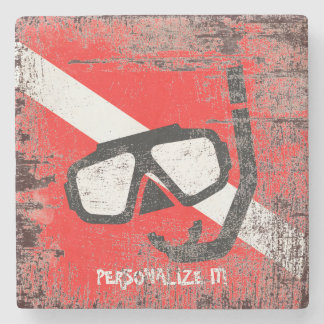 Diving mask with flag stone coaster