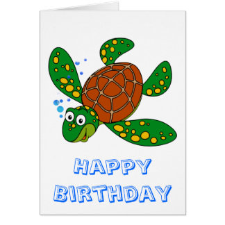 Diving Sea Turtle Birthday Card
