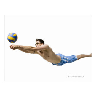 Diving volleyball player postcard