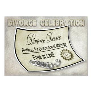 DIVORCE CELEBRATION INVIATION - DECREE 13 CM X 18 CM INVITATION CARD