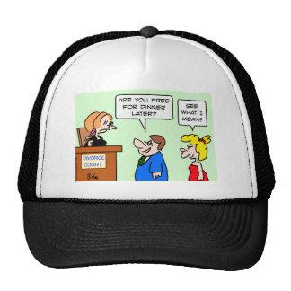 divorce court flirting free dinner mesh hat