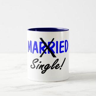 Divorced Single (Blue) Two-Tone Mug