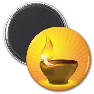 Diwali Diya - Oil lamp for dipawali celebration 6 Cm Round Magnet