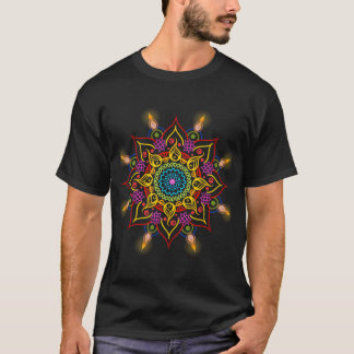 Diwali flower Rangoli with oil lamps T-Shirt