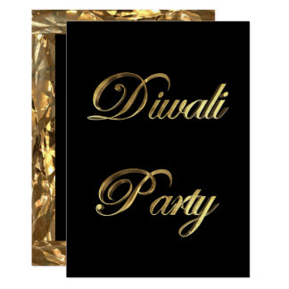 Diwali Party Invitation Elegant Black and Gold