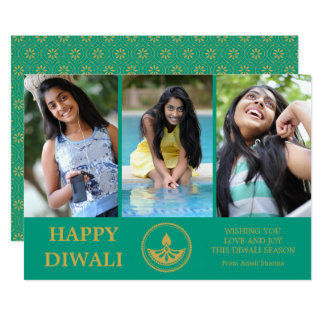 Diwali Photo Greeting Card - Custom Colour