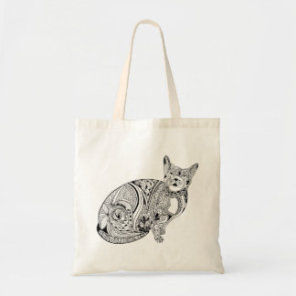 DIY adult coloring in black line art cat Tote Bag