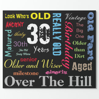 DIY Age | 30th Happy Birthday | Milestone Wrapping Paper