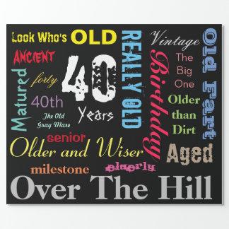 DIY Age | 40th Happy Birthday | Milestone Wrapping Paper