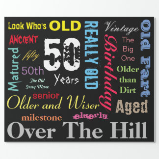 DIY Age | 50th Happy Birthday | Milestone Wrapping Paper