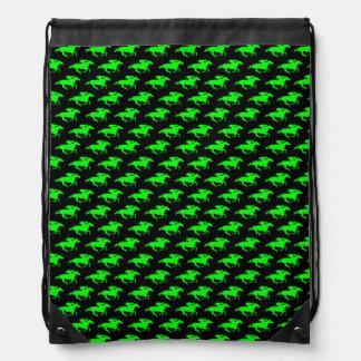 DIY Any Color/Lime Green Race Horses Drawstring Backpacks