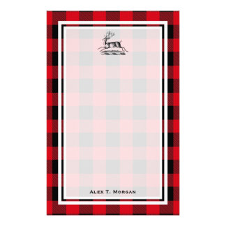 DIY BG Buffalo Plaid Tartan Black Red #2 Stag Deer Stationery