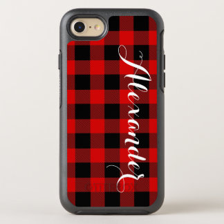 DIY BG Red Black Buffalo Plaid Name Monogram OtterBox Symmetry iPhone 7 Case