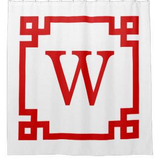 DIY BG Red Greek Key #2 Framed Init Monogram Shower Curtain