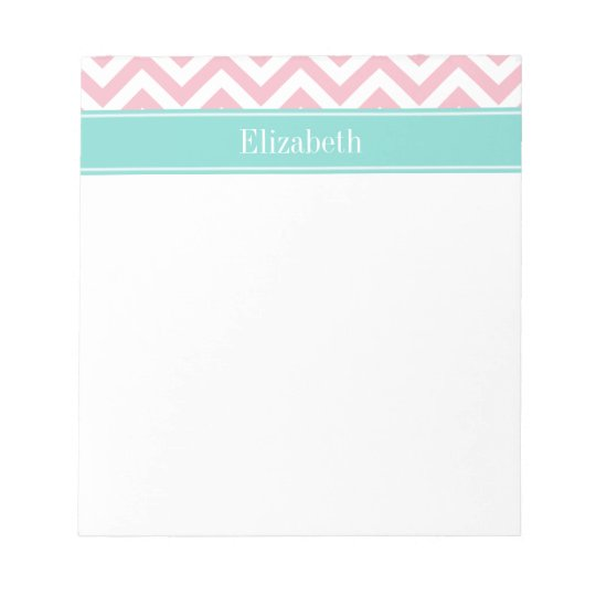 DIY BG White LG Chevron Turquoise Name Monogram Notepad