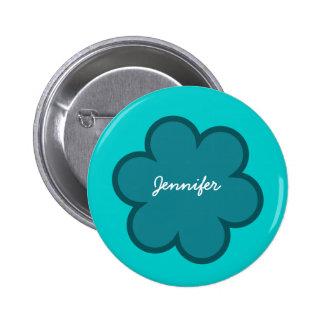 DIY Big Heart JENNIFER or ANY Name V02 TEAL Flower 6 Cm Round Badge