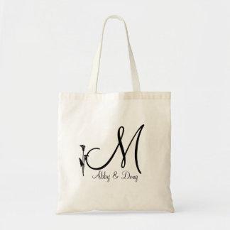 DIY Calla lily logo with monogram Canvas Bag