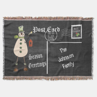 DIY Chalkboard Postcard with a Rustic Snowman