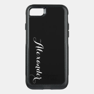 DIY Color Background, Name Monogram Black OtterBox Commuter iPhone 8/7 Case