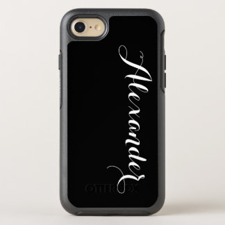 DIY Color Background, Name Monogram Black OtterBox Symmetry iPhone 8/7 Case