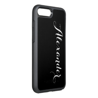 DIY Color Background, Name Monogram Black OtterBox Symmetry iPhone 8 Plus/7 Plus Case