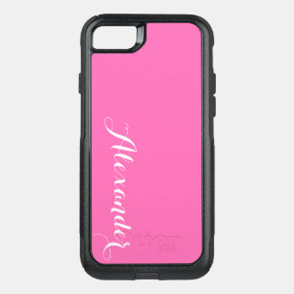 DIY Color Background, Name Monogram Hot Pink OtterBox Commuter iPhone 7 Case