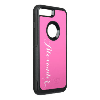 DIY Color Background, Name Monogram Hot Pink OtterBox Commuter iPhone 8 Plus/7 Plus Case