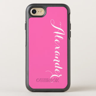 DIY Color Background, Name Monogram Hot Pink OtterBox Symmetry iPhone 7 Case