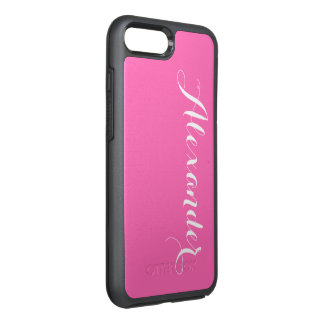 DIY Color Background, Name Monogram Hot Pink OtterBox Symmetry iPhone 7 Plus Case