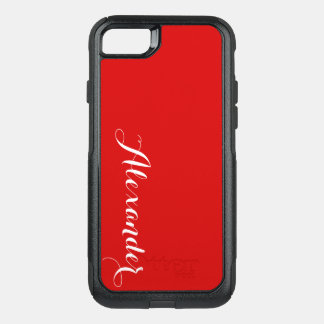 DIY Color Background, Name Monogram Red OtterBox Commuter iPhone 7 Case