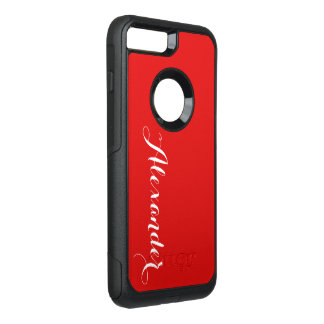 DIY Color Background, Name Monogram Red OtterBox Commuter iPhone 7 Plus Case