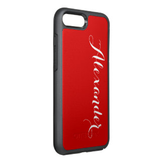 DIY Color Background, Name Monogram Red OtterBox Symmetry iPhone 7 Plus Case